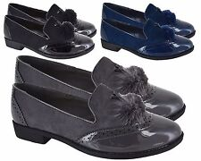 New Womens Suede Pom Pom Casual Loafers Ladies Low Flat Heel Brogue Office Shoes