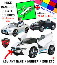 Personalised FRONT / BACK kids number plate for 6v BMW i8 electric ride on car