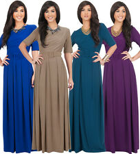 Womens Long 3/4 Sleeve Chic Elegant Evening Round Neck Belted Formal Maxi Dress
