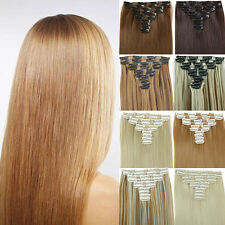 Long Straight Women Clip In Hair Extension Synthetic Hairpiece Heat Resistant