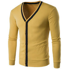 2016 Mens Sweaters Long Sleeve Casual V-Neck Knitted Cardigan Slim Tops