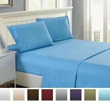 Hotel Quality Ultra Soft Deep Pocket 4 Piece Stripe Bed Sheet Set