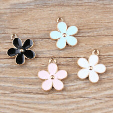 10/90PCS Gold Tone Two-sided Enamel Flower Charms Pendant Jewelry DIY Making Hot