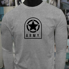 ARMY STAR PATCH NAVY ARMED FORCES MILITARY MARINE Mens Gray Long Sleeve T-Shirt
