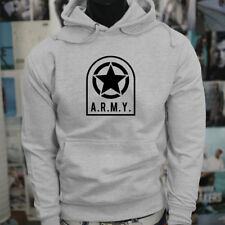 ARMY STAR PATCH NAVY ARMED FORCES MILITARY MARINE Mens Gray Hoodie