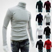 Fashion New Mens Casual Turtle Neck Pullover Slim Fit Long Sleeve Tops T-shirt b