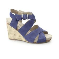 Hush Puppies FINTAN MONTIE Ladies Women Leather Buckle Wedge Heeled Sandals Navy
