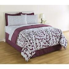 Comforter Bed Set 8 Piece Vertical Vines Skirt Sheets Pillow Cases Sham Crafted