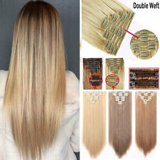100% Natural Thick Clip in Hair Extensions 7/8 Pieces Full Head Long As Human US