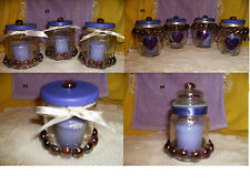 Yankee Lilac Candle & Jeweled Glass Jar Purple Beaded 3 PC Ribbon #3 4 5 6 New