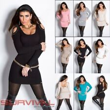 Womens Mini Knit Dress Open Cold Shoulder Long Sweater Top Sexy Jumper Size 6-10