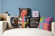 PILLOW CASE CUSHION COVER MUSIC ROCK ROLLING STONES THE BEATLES PINK FLOYD