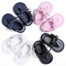 Summer Baby Kid Girls PU Leather Bow Flip-flops Sandal Shoes Slippers Flip-flops