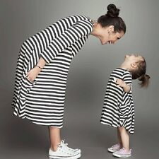 Mother Daughter Dress Black and White Striped Matching Mommy And Me Clothes #W