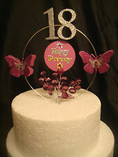 hot pink glitter butterfly crystal any age  birthday cake topper decoration