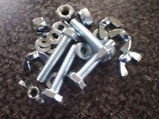 M5 High Tensile Set Screw/Bolts BZP 8.8 (Din 933) With Wing Nuts and Washers.