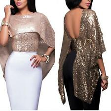 Lady Sexy Fashion Sequined Shawl Collar Loose Blouse Party Clubwear Top Alert
