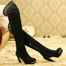 Women's Rivets Stud Suede Leather Thigh Over Knee High Platform Boots High Heels