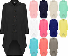 Ladies Womens Button Hi Lo Long Sleeve Collared Chiffon Shirt Dress Top 10-22