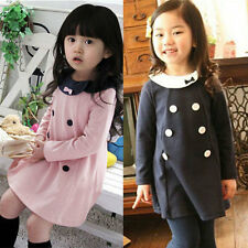Cute Baby Kids Girls Dress Top Skirt Casual Long Sleeve Party Clothes Dress 2-7Y