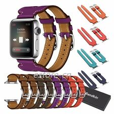 Double Buckle Cuff Bracelet Real Leather Band Strap for Apple Watch Series 2 &1