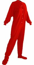 Red Jersey Knit Adult Footed Pajamas Footie Drop Seat Mens Womens PJs Comfy