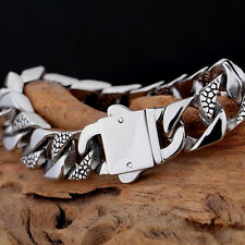 14mm Huge Mens Chain Flat CURB Link Silver Tone 316L Stainless Steel Bracelet