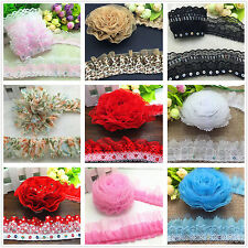 1/3/5 yards Organza Lace Gathered Pleated Sequined Trim 35mm 40mm 45mm 50mm 55mm