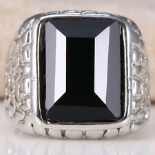 Natural 5.5Ct Black Sapphire 925 Silver Women Wedding Engagement Ring Size 6-10