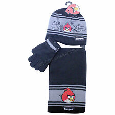 Official Licensed Angry Birds 3 Piece Set Hat Gloves Scarf Black Grey Angry Bird