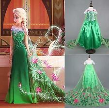Frozen Costume Fever Inspired Green Maxi Split Elsa Dress Up Gown Princess Dress