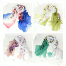 Women Ladies Chinese Flower Chiffon Scarf Wraps Shawl Stole Scarves 160 x 50cm