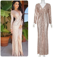 Women Prom Gown Sexy V Neck Long Sleeve Split Maxi Cocktail Party Evening Dress