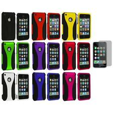 Color Black 3-Piece Rubberized Case Cover+Screen Protector for iPhone 3G 3GS