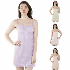Ladies Pretty Chemise Slip-on Nightdress in Pastel Coloured Floral Embroidered L