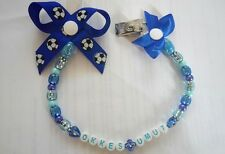 personalised bow dummy clip for boys / any name,with or without mam clip