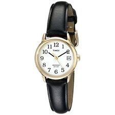 Watch Timex Womens Easy Reader Date Leather Strap Water Resistant Black/Gold New