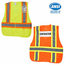 ANSI/ ISEA Class 2 High Visibility Safety Vest with Reflective Strips, OSFA