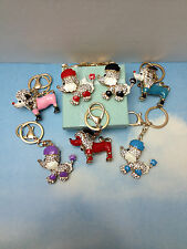 DOG POODLE PUPPY GOLD KEYCHAIN CRYSTALS NEW gift box RED PINK BLACK BLUE PURPLE+