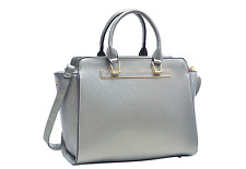 Dasein Faux Saffiano Leather Winged Satchel Hangd Bag with Shoulder Strap New