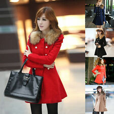 Women Winter Jacket Double Breasted Trench Wool Fur Collar Coat Outwear Overcoat