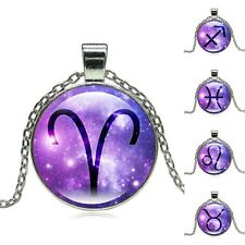 Fashion 12 Zodiac Pendant Necklace Glass Cabochon Accessories Tibetan Silver