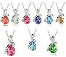 Beautiful! Eternal Love Teardrop Swarovski Elements Crystal Pendant Necklace