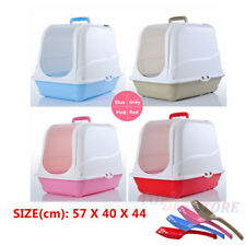 Large Portable Hooded Cat Pet Toilet Litter Box Tray House + Scoop,Cat Scratcher