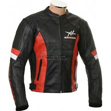 MV AGUSTA CORSE Black Red Motorbike Motorcycle Armored Real Leather Biker Jacket