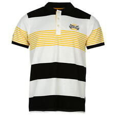 Everlast Mens Yarn Dye Stripe Polo Shirt Black/White/Yellow New