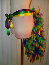 Mardi Gras Samba Showgirl Burlesque Ribbon Feather Bunny Tail Skirt Tutu Bustle