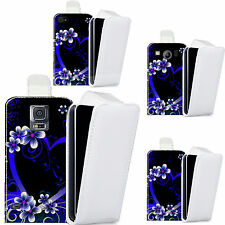 faux leather case cover for majority Mobile phones - blue alluring heart flip