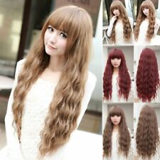 Women Cosplay Wig Long Wavy Curly Ombre Red Hair Costume Party Lolita Full Wig #