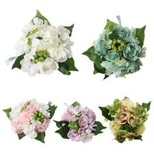 Artificial Hydrangea Rose Silk Flower Olive Leaf Bouquet Wedding Party DIY Decor